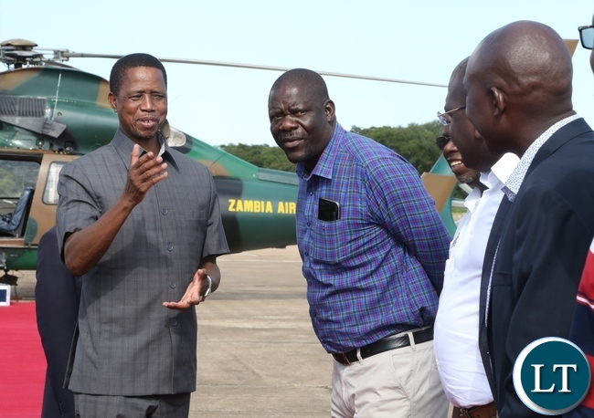 President Edgar Lungu confers with PF Secretary General Davies Mwila at ZAF Lusaka shortly before his departure to Muchinga Province for three days working visit
