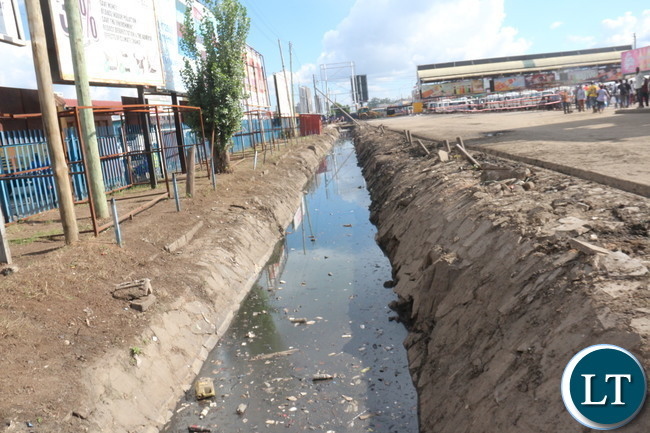 Lumumba drainage along City Market bus station after the Army clean up