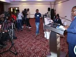 New Revolution Party President Humphrey Siulapwa speaking to journalists during press briefing at Pamondzi Hotel