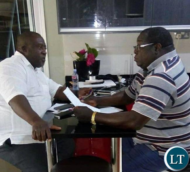 NDC Secretary General Mwenya Musenge and NDC Political Consultant Chishimba Kambwili
