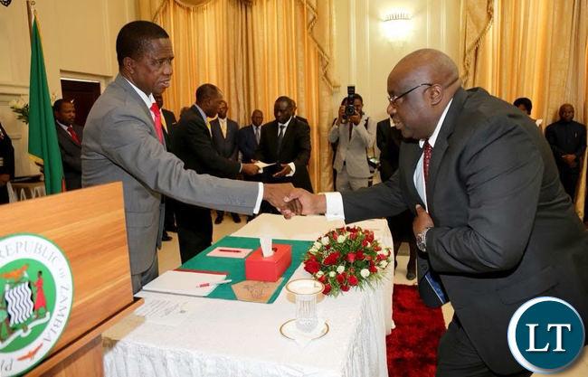 President Lungu swears in Dr Emmanuel Mulenga Pamu as Permanent Secretary - Budget and Economic affairs at Ministry of Finance
