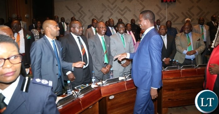President Edgar Lungu having a light moment with cabinet Ministers shortly after the President State of the Nation address at Parliament Buildings