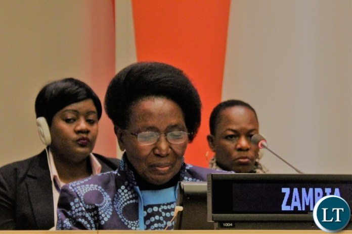 """Vice-President Inonge Wina making interventions at the High Level side event which was themed: """"Accelerating efforts to end female genital mutilation and child marriage by 2030."""" at the United Nations (UN) in New York. Picture courtesy of Zambia Mission at the United Nations/WALLEN SIMWAKAVice-President Inonge Wina making interventions at the High Level side event which was themed: """"Accelerating efforts to end female genital mutilation and child marriage by 2030."""" at the United Nations (UN) in New York. Picture courtesy of Zambia Mission at the United Nations/WALLEN SIMWAKA"""