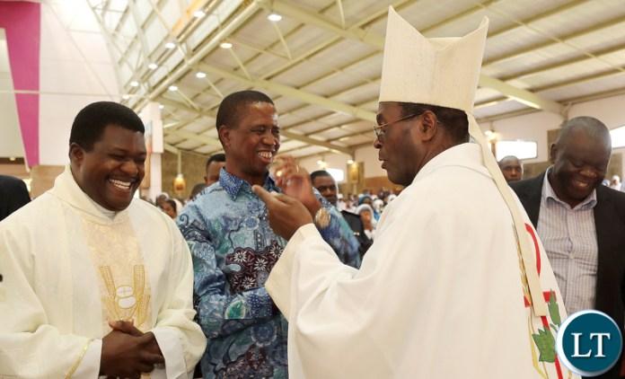 President Lungu with Bishop Mpundu