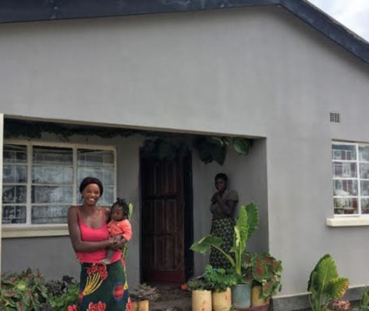 Margaret Kalimina and her family live in a newly-built three-roomed house near a new water borehole in Kalima Village, Chisamba District.