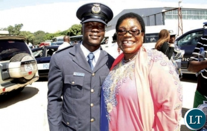 Former First Lady Vera Chiluba with her son Frederick Chiluba junior after a pass-out parade at Zambia Air Force base in Livingstone in 2014