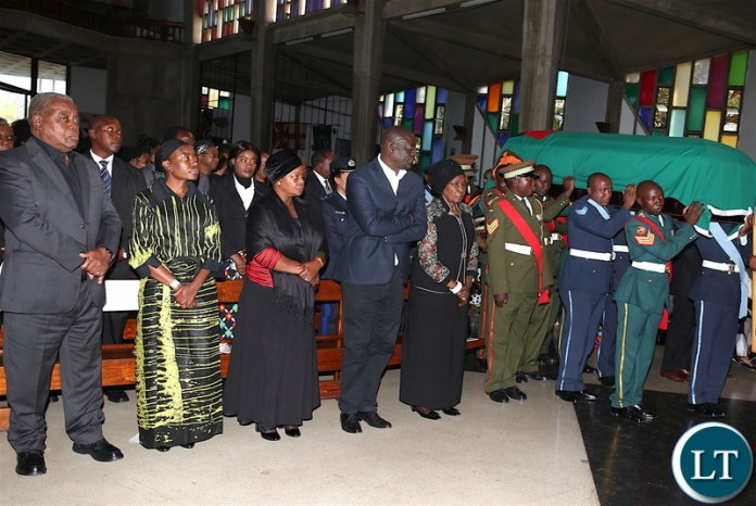 From L-R: Former president Rupiah Banda, Former First Lady Thandiwe Banda,First Lady Esther Lungu, PF Secretary General Davies Mwila and Vice-President Inonge Wina during the funeral service of  Gender Minister Victoria Kalima  at the Cathedral of the Holy Cross on Saturday,June 16,2018 -Picture by THOMAS NSAMA