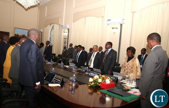 From L-R:President  Edgar Chagwa Lungu, Vice-President Inonge Wina, Foreign Affairs Minister Joseph Malanji, Justice Minister Given Lubinda and Agriculture Minister Michael Katambo prays shortly before a Cabinet meeting at State House on Friday, June 8,2018 -Pictures by THOMAS  NSAMA