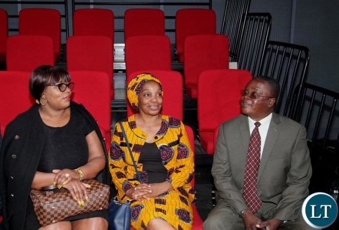 INFORMATION Minister Dora Siliya and ZNBC board chairperson Mulenga Kapwepwe with ZANIS Director Patrick Lungu having feel the newly constructed ZANIS studios. This was during the tour of the premises by the Minister