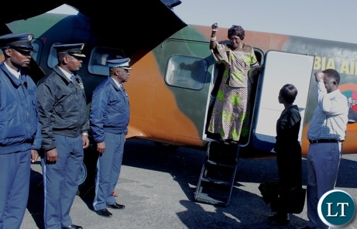 Vice President Inonge Wina (C) arrives at Mongu Airport today for ground breaking ceremony of a Modern Clinic in Lealui Ward and Inspect progress on the Cashew Infrastructure Development Project (CIDP) in Mongu District, Western Province.
