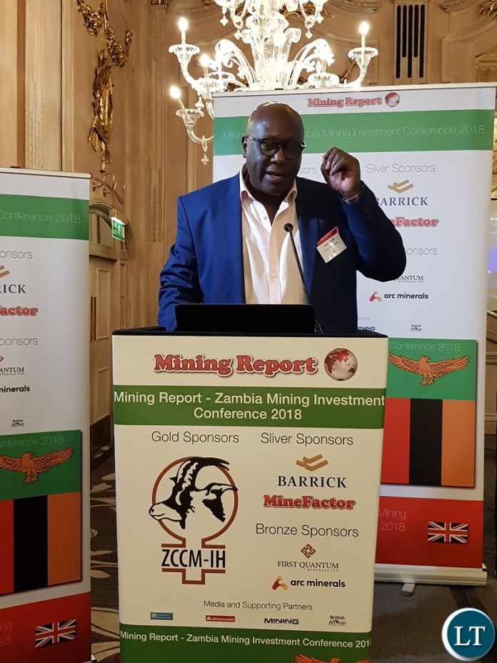 Chief Executive Officer, ZCCM Investments Holdings Dr. Pius Kasolo addressing the Zambia Mining Investment conference 2018