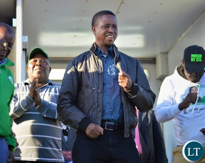 President Edgar Lungu  at a Campaign Rally