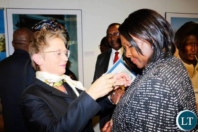 World Bank Country Manager Ina Ruthenberg with Finance Minister Magarate Mwanakatwe