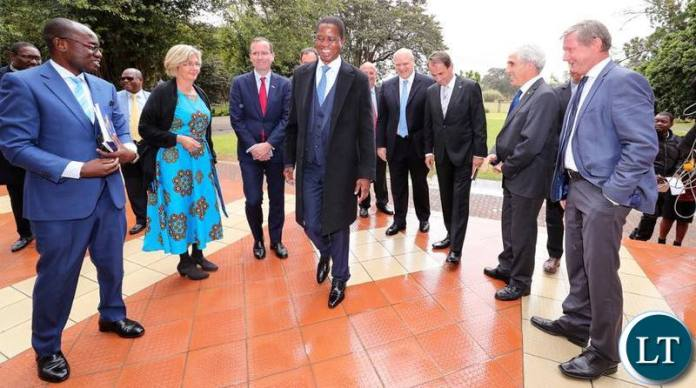President Lungu with EU Ambassadors at State House on Friday