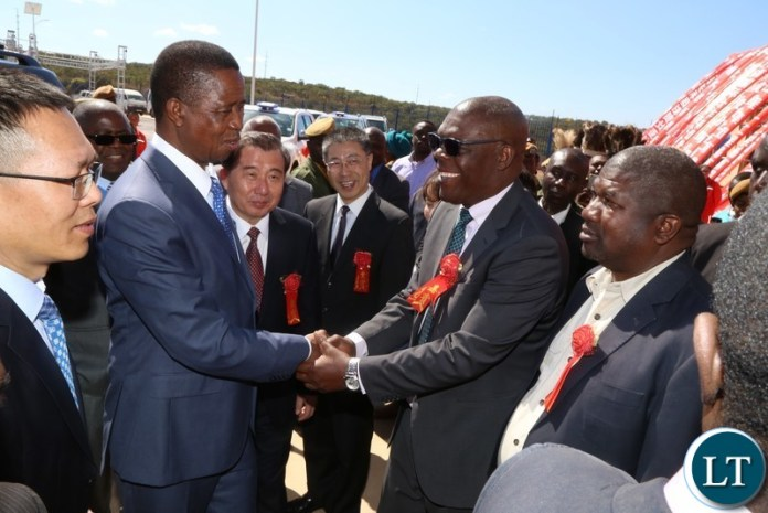 President Edgar Lungu being welcomed by Chongwe Mayor Geoffrey Chumbwe at the official opening of the China National Building Material Zambia Industry Plant in Chongwe District