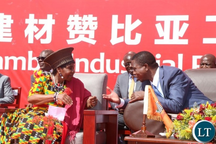 President Edgar Lungu confers with Chieftaniss Nkomeshya Mukamambo II after the official opening of the China National Building Material Zambia Industry Plant in Chongwe District