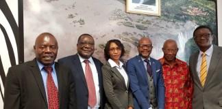 The Zambia Delegation of Dr Alfred Suman Dr John S. Kachimba, Dr Henry Musenge, Mr. Filipo Zulu and Ms. Atridah Mulonga. with Ambassador Mukwita