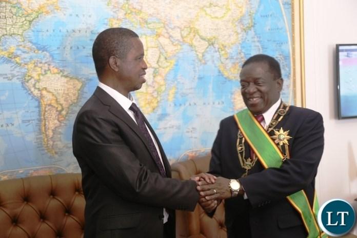 President Edgar Lungu congratulates President Emmerson Mnangagwa shortly after his inauguration ceremony
