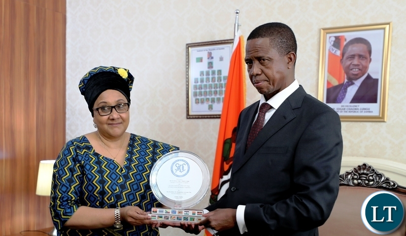 President Edgar Chagwa Lungu posing for a photograph with SADC Executive Secretary, Dr Stergomena Lawrence Tax after a meeting at State House onFriday, August 3,2018. The President is the incoming Chairman for the SADC Organ Troika on Politics, Security and Defence. PICTURE BY EDDIE MWANALEZA/STATE HOUSE ©2018