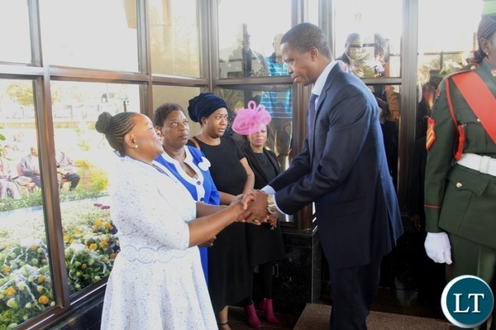 President Edgar Lungu bids farewell to Former First Lady Maureen Mwanawasa after laying a wreath on the grave of the late 3rd Republican President His Excellency Dr Levy Patrick Mwanawasa at Memorial Park