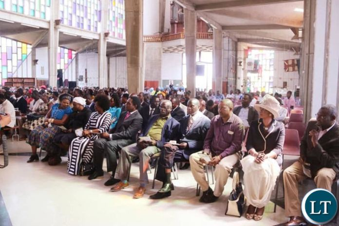 Part of the audience that attended Dr Mwanawasa's memorial service at the Cathedral of the Holy Cross