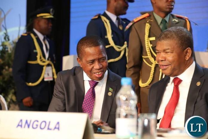 President Lungu with President Joao Lourenco of Angola