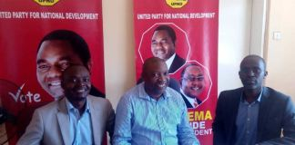 UPND Deputy General Secretary Patrick Mucheleka and Chairman for Agriculture Levy Ngoma unveiling Dr Banda at the UPND secretariat