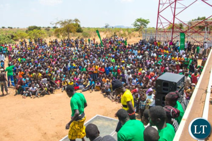 Part of the launch of a new Zamtel tower at Kakumbauzya in Petauke District
