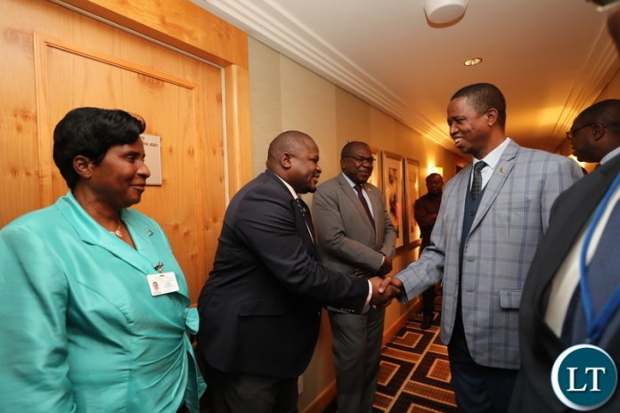 """Minister of National Development Planning Hon. Alexander Chiteme, Minister of Health Dr Chitalu Chilufya and Minister Gender Hon. Elizabeth Phiri welcoming His Excellency Mr. Edgar Chagwa Lungu, President of Zambia, at New York Palace Hotel in New York, USA on Sunday 23 September 2018. President Lungu and his delegation are in New York to participate in the 73rd UN General Assembly High-Level Segment. The theme of the General Assembly is: """"Making the United Nations relevant to All people: Global leadership and shared responsibilities for peaceful, equitable and sustainable societies."""" Photos 