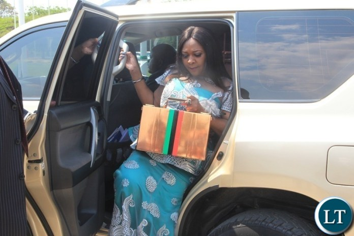 Minister of Finance ,Margaret Mwanakatwe arrives at parliament building to presents eagerly-anticipated 2019 national budget in Lusaka.