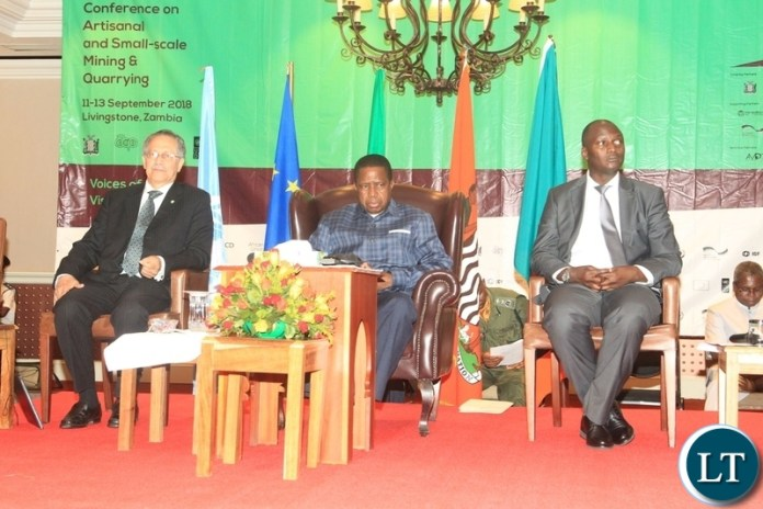 President Edgar Lungu at international conference on small-scale Mining and quarrying in Livingstone.