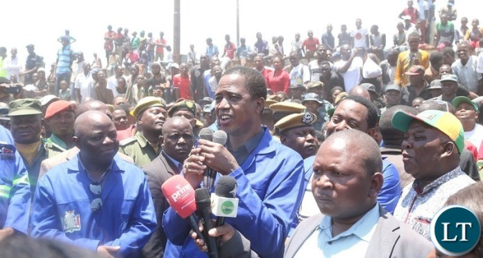 President Edgar Lungu speaking to  thousands of Kafue resident who welcomed him for the cleaning exercise in Kafue