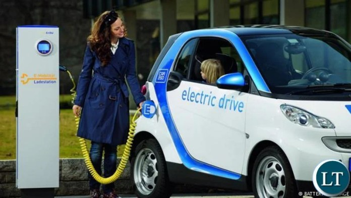 An electric car in Germany charging