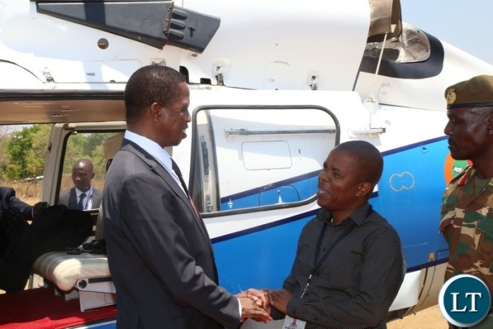 Central Province Minister Sidney Mushanga welcomes President Edgar Lungu before he officially opened the Central Province Investment Forum and Expo in Kapiri