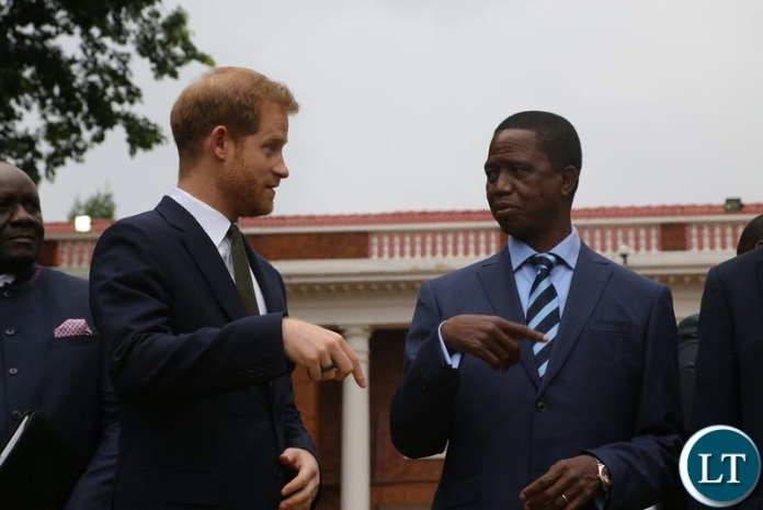 President Edgar Lungu and Prince Harry the Duke of Sussex with State House Specials take the official photography at State House when the Prince called on the President