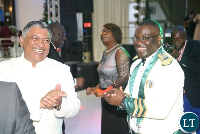 Minister of Justice Given Lubinda and Correctional Commission General Dr. Chisala Chileshe on the floor during the Zambia Air Force Annual Ball open floor at Chamba Valley Banquet Hall