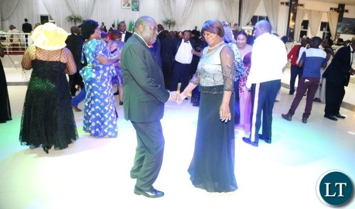 Minister of Defence Davis Chama and Minister in the office of the Vice President Sylvia Chalikosa on the floor during the Zambia Air Force Annual Ball open floor at Chamba Valley Banquet Hall