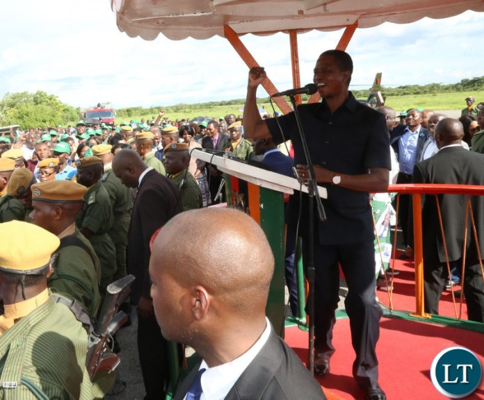 President Edgar Lungu addressing a gathering on arrival at South Down Airport in Kalulushu District