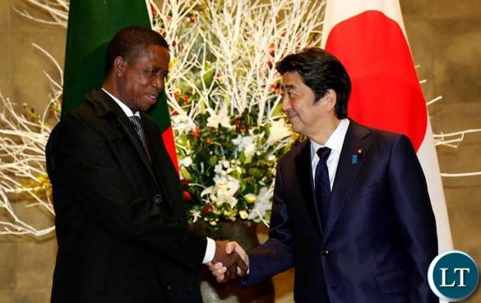 President Edgar Chagwa Lungu (left) being welcomed by Japanese Prime Minister Shinzo Abe at his residence in Tokyo,Japan on Wednesday,December 19,2018. PICTURE BY SALIM HENRY/STATE HOUSE ©2018