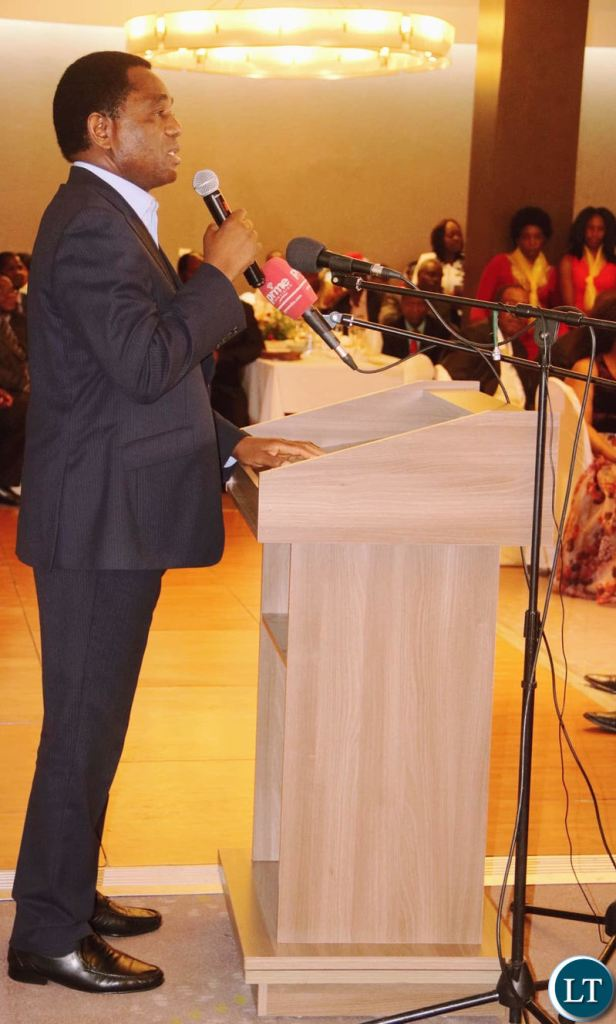 UPND leader Hakainde Hichilema delivering his remarks during the party's 20th anniversary dinner at Intercontinental Lusaka