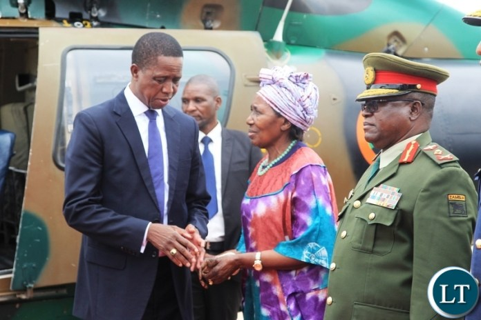 President Edgar Lungu bids farewell to Veep Inonge Wina before departure for Japan at Kenneth Kaunda International Airport