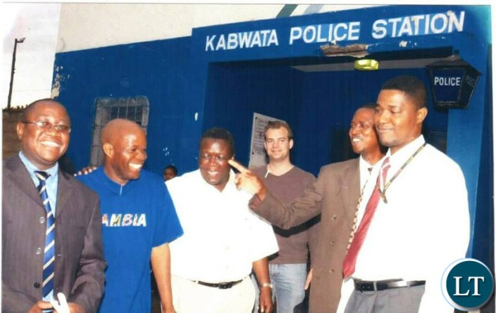 President Edgar Lungu with Fred M'membe . This was in 2005 at Kabwata Police Post when Fred M'membe was a client of Mr Lungu