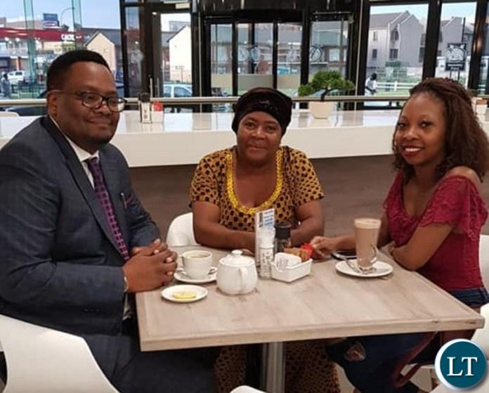 Emmanuel Mwamba, Mrs. Betty Mulongoti and daughter, Juliana Mulongoti at the Hospital Cafe.