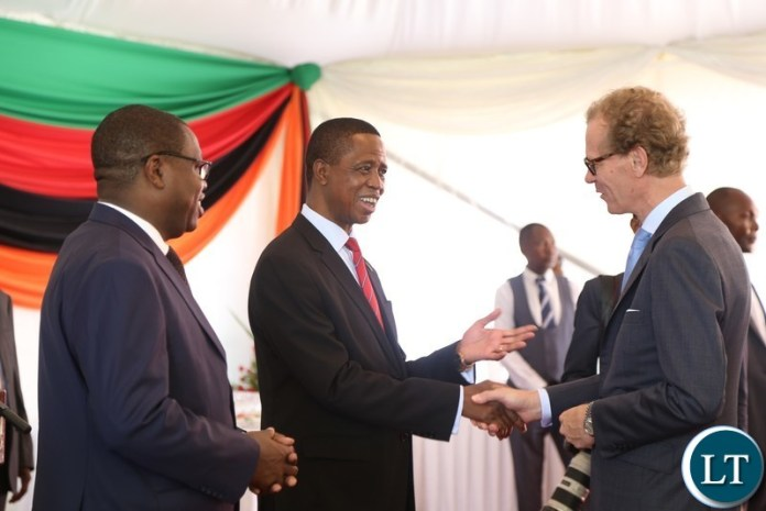 Swedish Ambassador Henrik Cederin talks to President Edgar Lungu during the Annual Greeting Ceremony for Diplomatic Corps at State House