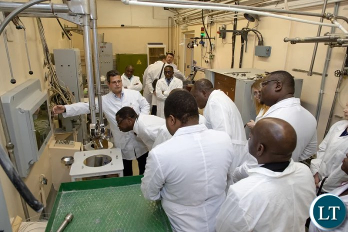 Minister of Foreign Affairs, Mr. Joseph Malanji with the Zambia Delegation visiting the Nuclear Research Centre in Russia