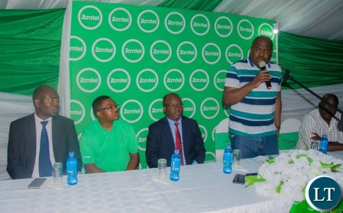 Mansa Central Member of Parliament Dr Chitalu Chilufya speaks during the commissioning of a new Zamtel network tower in Mansa on Saturday