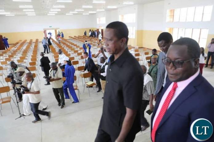 President Lungu during the commissioning of the ZESCO Constructed Edgar Lungu Technical Secondary School in Simambumbu area of Petauke district.