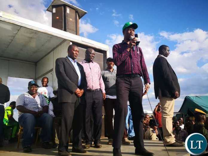 President Lungu at at a rally held in Magoba ward  inKafue District