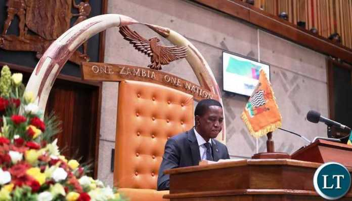 President Edgar Lungu delivering the State of Nation Address on progress made in the Application of National Values and Principles at Parliament on Friday, 15th March, 2019. Picture by Eddie Mwanaleza/State House