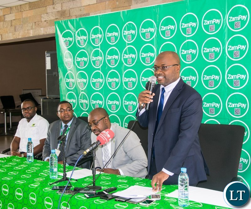Zamtel CEO Sydney Mupeta speaking during the launch of the ZamPay Number Neutral Capability at Zamtel House